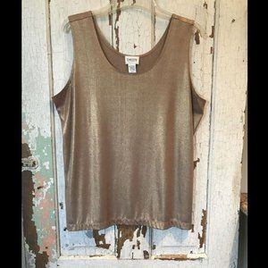 CHICO'S TRAVELERS SZ 3 GOLD GLIMMER TANK TOP